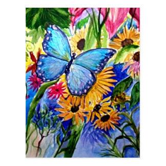 Jardín azul de la mariposa postal