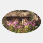 Jardín - Belvidere, NJ - mi pequeña cabaña Calcomanías Ovaladas Personalizadas