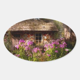 Jardín - Belvidere NJ - mi pequeña cabaña Calcomanías Ovaladas Personalizadas