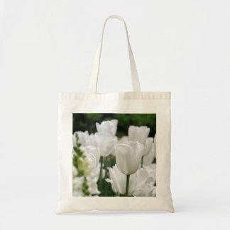 jardín blanco del tulipán bolsa tela barata