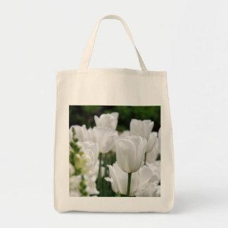 jardín blanco del tulipán bolsa tela para la compra