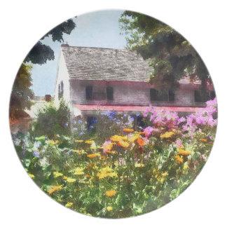 Jardín brillante del verano plato de cena