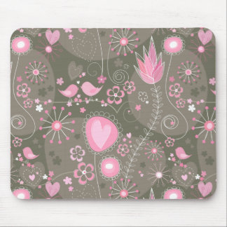 Jardín caprichoso en mousepad rosado