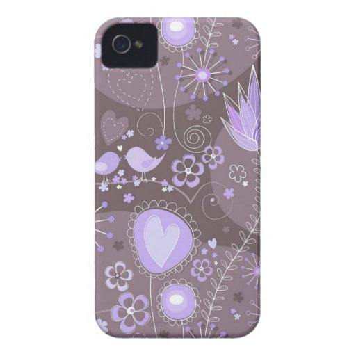 Jardín caprichoso en púrpura y gris iPhone 4 Case-Mate cobertura
