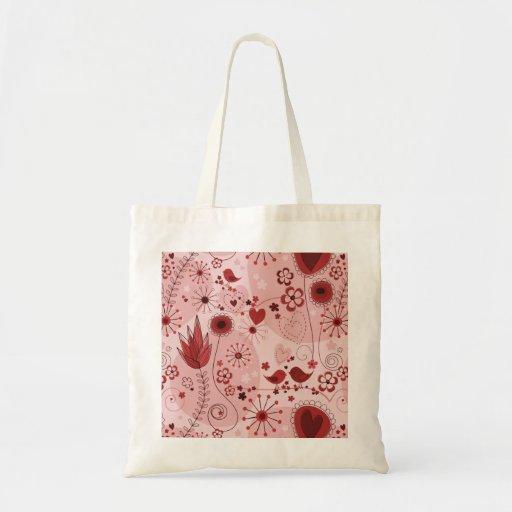 Jardín caprichoso en rojo bolsa tela barata