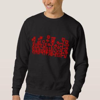 Jardín cibernético - rojo en oscuridad sudadera