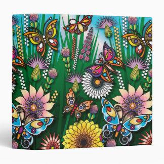 """jardín colorido de la mariposa de la primavera carpeta 1 1/2"""""""