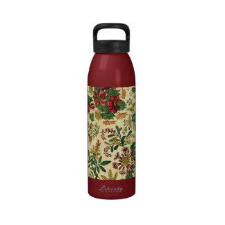 Jardín colorido del vintage floral botella de beber