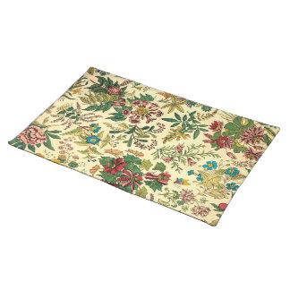 Jardín colorido del vintage floral mantel individual