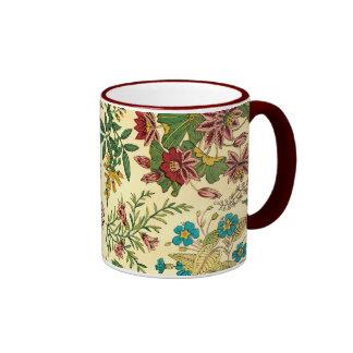 Jardín colorido del vintage floral tazas de café