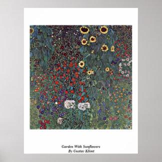 Jardín con los girasoles de Gustavo Klimt Posters