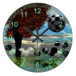 Jardín cristalino, luz abstracta del oro verde reloj