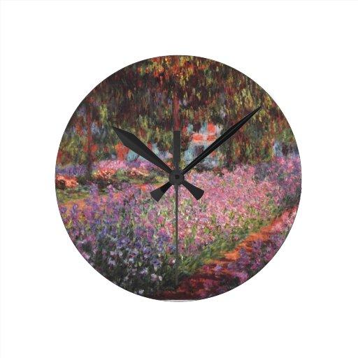 Jardín de Claude Monet //en Giverny Reloj Redondo Mediano