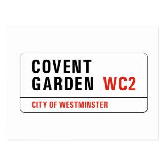 Jardín de Covent, placa de calle de Londres Tarjetas Postales