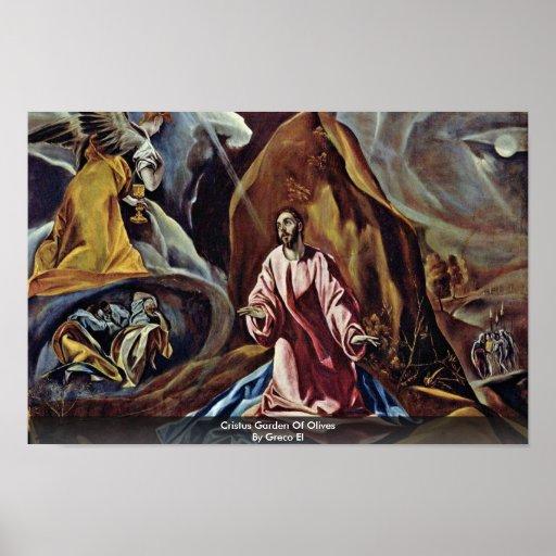 Jardín de Cristus de aceitunas por el EL de Greco Posters