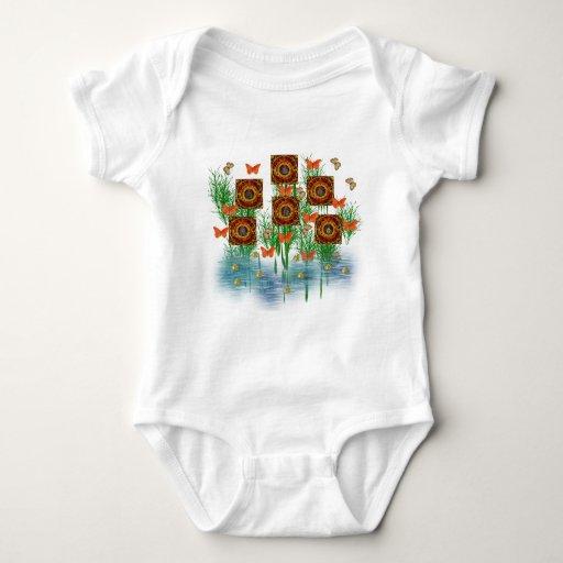 Jardín de cuadrados espirales body para bebé