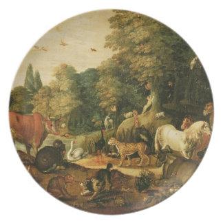 Jardín de Eden (aceite en lona) Plato