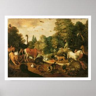 Jardín de Eden (aceite en lona) Póster