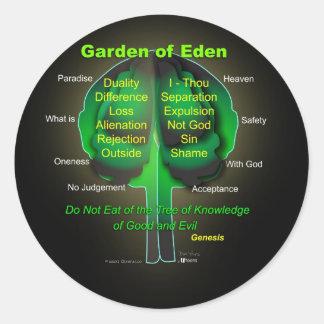 Jardín de Eden Pegatina Redonda