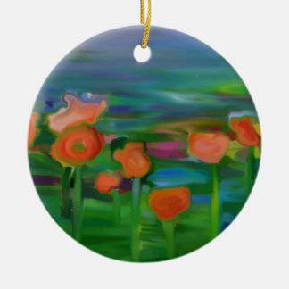 jardín de flor abstracto adorno redondo de cerámica