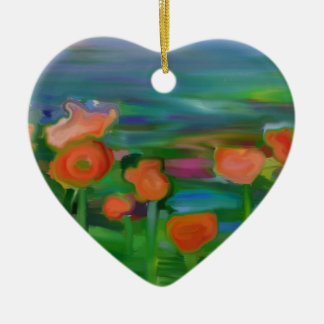 jardín de flor abstracto adorno de cerámica en forma de corazón