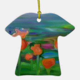 jardín de flor abstracto adorno de cerámica en forma de playera