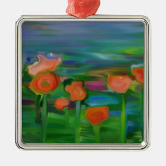 jardín de flor abstracto adorno cuadrado plateado