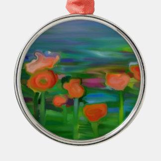 jardín de flor abstracto adorno redondo plateado