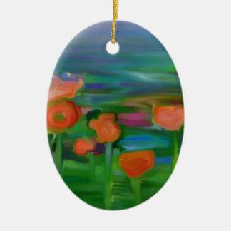 jardín de flor abstracto adorno ovalado de cerámica