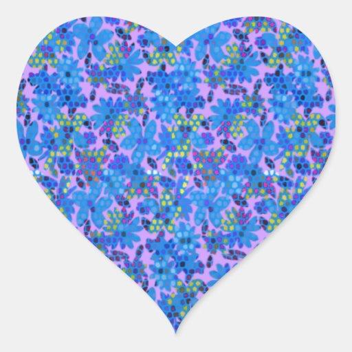 Jardín de flores azul pegatina en forma de corazón