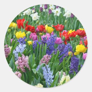 Jardín de flores colorido de la primavera pegatina redonda