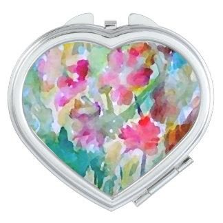 Jardín de flores cosmético de la acuarela del espejo para el bolso