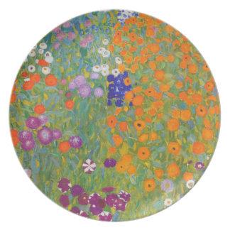 Jardín de flores de Klimt que pinta II Nouveau Plato Para Fiesta