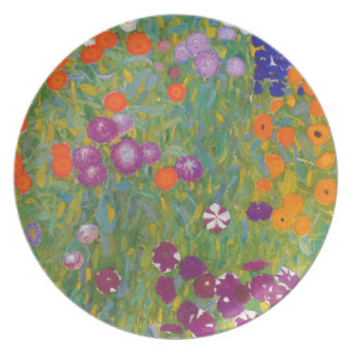 Jardín de flores de Klimt que pinta III Nouveau Platos Para Fiestas