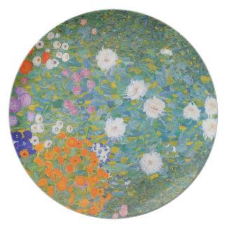 Jardín de flores de Klimt que pinta Nouveau Plato De Cena