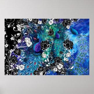 Jardín de flores de la pluma del pavo real del pav poster