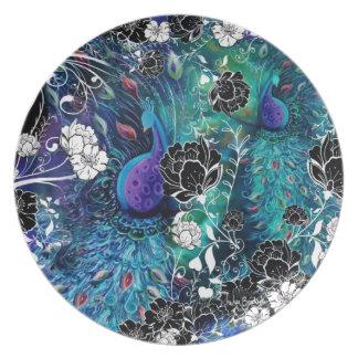 Jardín de flores de la pluma del pavo real platos para fiestas