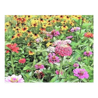 Jardín de flores del verano tarjetas postales