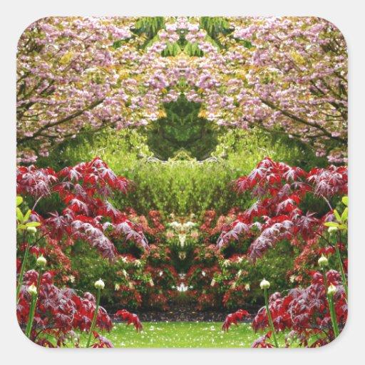 Jardín de flores del vintage calcomanía cuadradas personalizadas