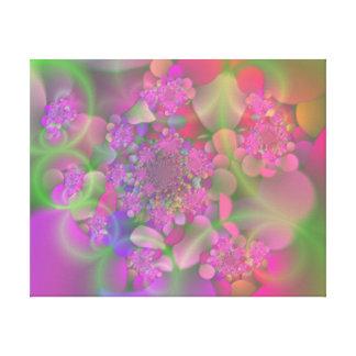 Jardín de flores en colores pastel del fractal impresión en lona estirada
