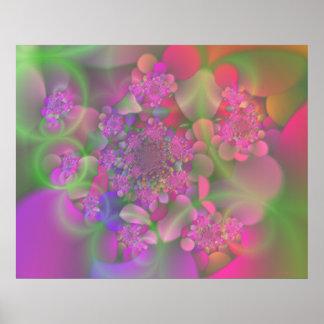 Jardín de flores en colores pastel del fractal impresiones