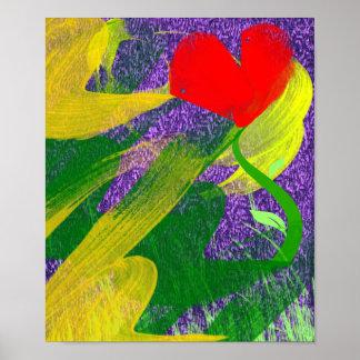 Jardín de flores en la impresión crepuscular