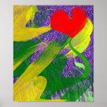 Jardín de flores en la impresión crepuscular póster