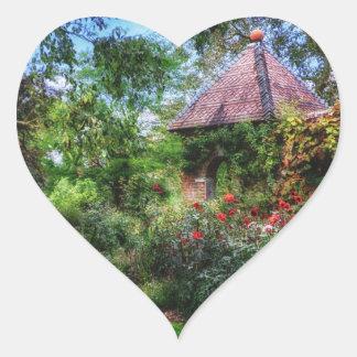 Jardín de flores encantado pegatinas de corazon