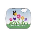 Jardín de flores feliz de la abeja personalizado latas de caramelos