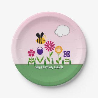 Jardín de flores feliz de la abeja personalizado platos de papel
