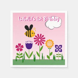 Jardín de flores feliz de la abeja personalizado servilletas de papel