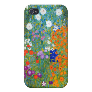 Jardín de flores, Gustavo Klimt iPhone 4 Funda