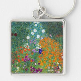 Jardín de flores, Gustavo Klimt Llavero Cuadrado Plateado