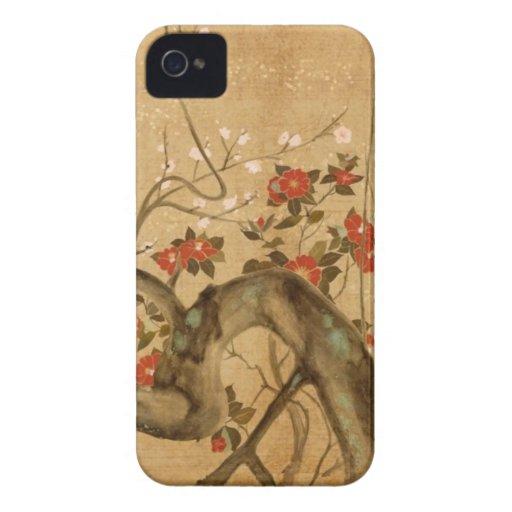 Jardín de flores japonés iPhone 4 Case-Mate carcasa